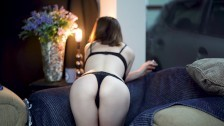 Sexy Smoking In Black Lingerie
