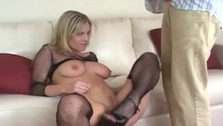 Blonde sucking and anal sex in fishnet nylons