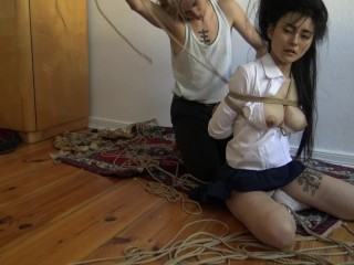 Kinbaku bondage – Me suffering in rope and shared an intense moment