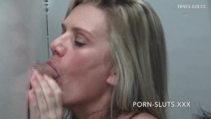 Amateur housewives blowing a dick through gloryhole at exclusive live webcam show