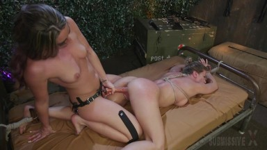 Submissive Ariel X Tied Up By Savannah Fox Whipped And Eating Ass And Pussy And Taking A Strapon